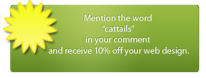 10% off when using the word 'Cattails' in email